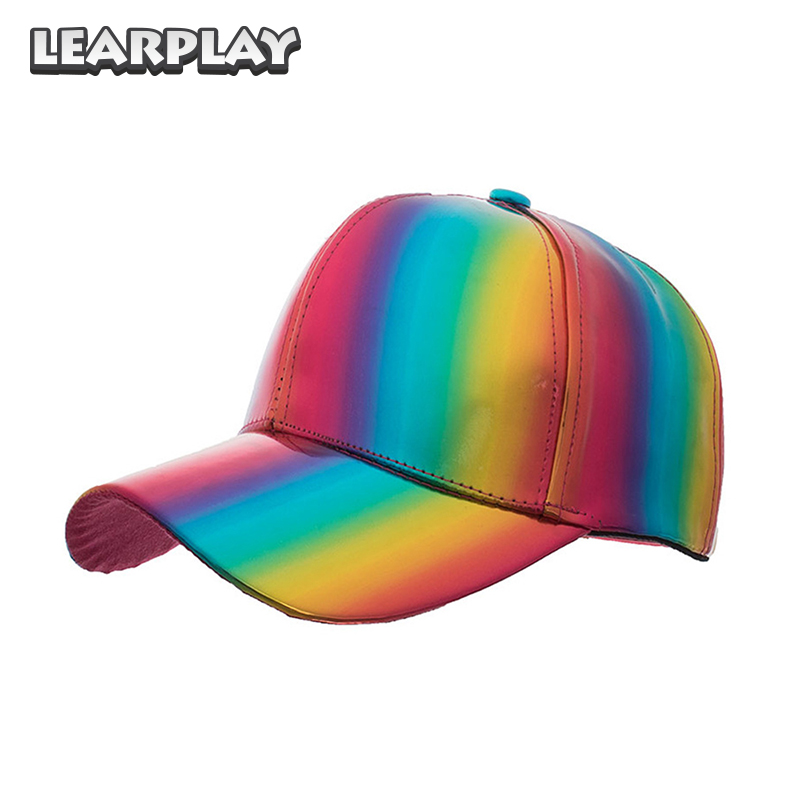 PU Rainbow Laser Hats Shiny Leather Snapback Baseball Caps Hip Hop Fashion Adjustable Hat For Men Women Boys
