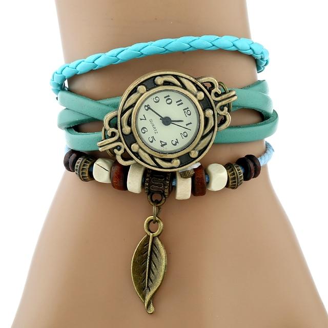 Gnova Platinum TOP Genuine Leather Bracelet Watch Women LEAF Vintage wristwatch Korean Fashion student school