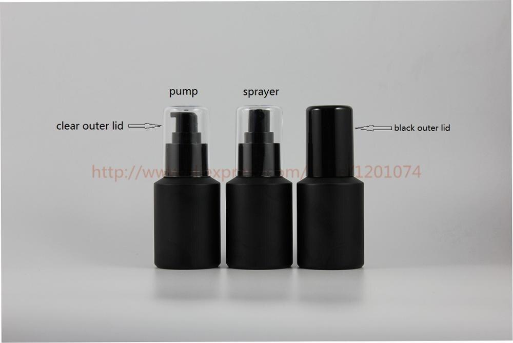 Güzellik ve Sağlık'ten Doldurulabilir Şişeler'de 60 ml boyalı siyah buzlu Cam eğimli omuz şişesi parlak siyah plastik püskürtücü/pompa, parfüm/sis şişesi, losyon şişesi'da  Grup 1
