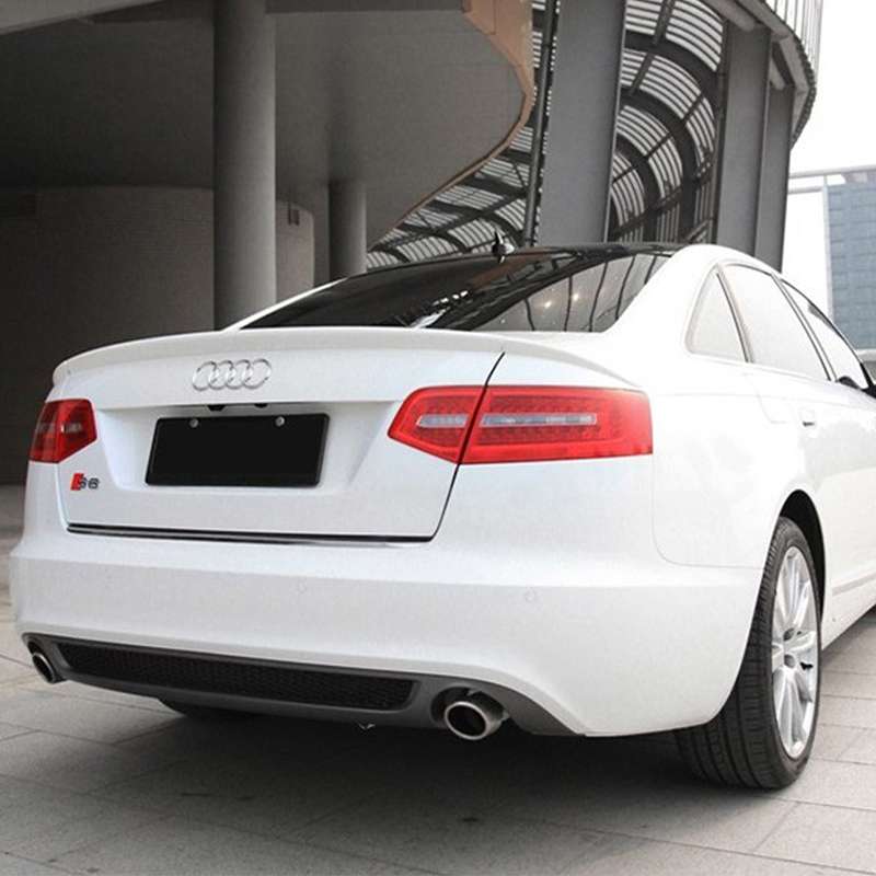 цена на A6 Modified ABT Style 3PCS/SET PU Primer Rear Trunk Lip Spoiler Car Wing for Audi A6 2009 2010 2011