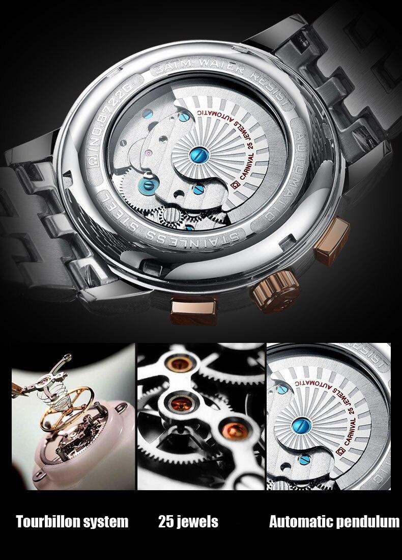 Suíça carnaval relógios masculinos marca de luxo