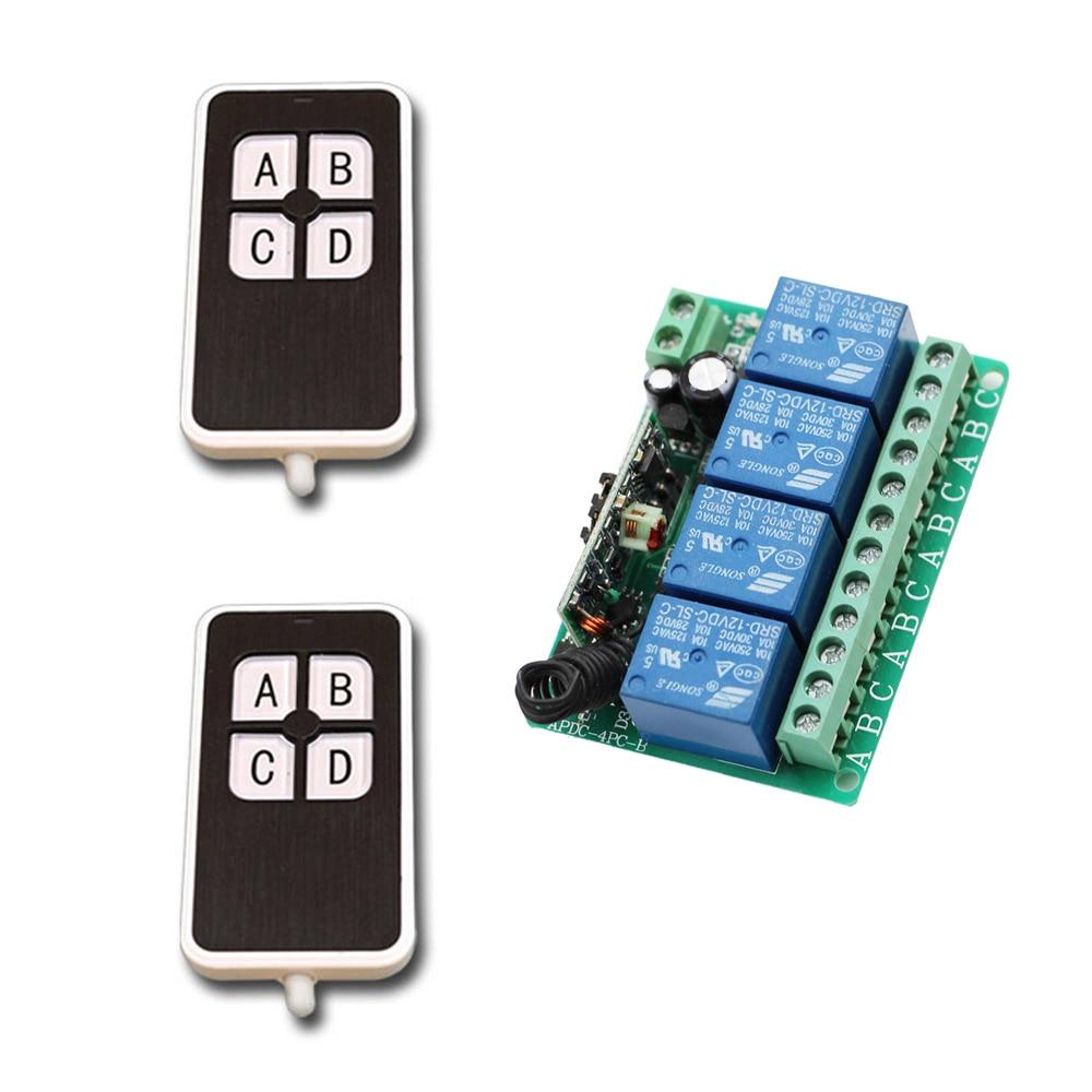 DC12V 4CH Relay 10A RF Wireless Remote Control Switch