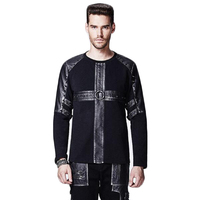 Punk Men Long Sleeve T shirt New Style Gothic Male Black T shirt Rivet T shirts With Leather Decoration Tees