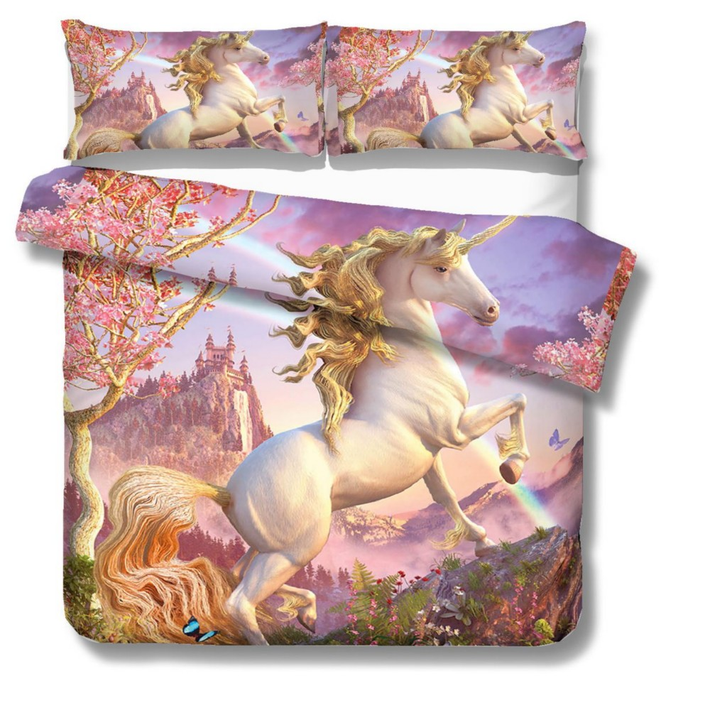 Duvet Cover Sets King Queen Twin Size Dropshipping 3D Digital Printing Rainbow Colorful Hand Drawn Floral Bedding Set