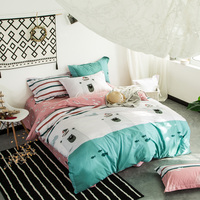 Cartoon Style Bear Fish Green Bedlinens Queen King Full Size Duvet Cover Sets Cotton Fabric Cartoon