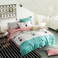 Cartoon Style Bear Fish Green Bedlinens Queen King Full Size Duvet Cover Sets Cotton Fabric Cartoon