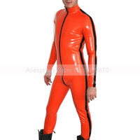 Orange Male Rubber Latex Bodysuit Zentai Tight Catsuit Front Zip Costumes with Side Strips S LCM114