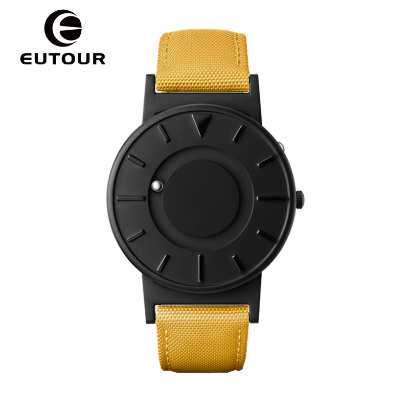 EUTOUR 2017 Genuine Leather Watches top Brand Luxury Quartz women black Watch canvas Magnetic Watches ladies