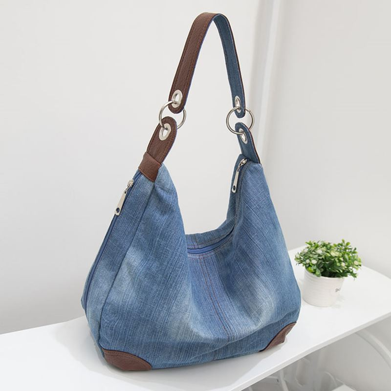 2017 New Designer Ladies Hand bags Large Luxury Handbags Women Bag Big  Purses Jean Tote Denim Shoulder Crossbody-in Top-Handle Bags from Luggage    Bags on ... d570e8fcde346