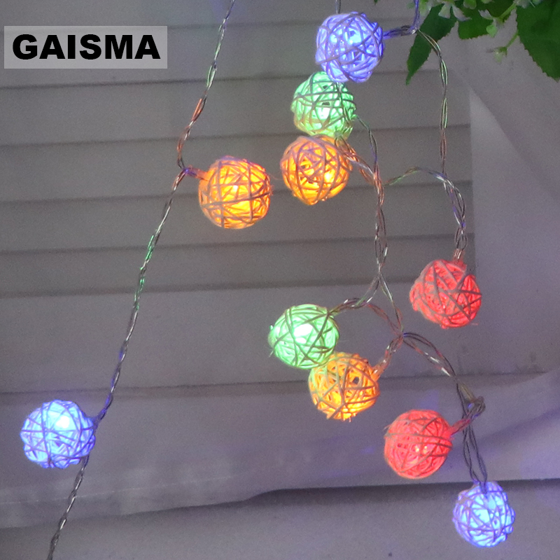 1.5M 3M 6M Battery Operated Rattan Ball LED String Lights Christmas Garland Wedding Fairy Lights Decoration For Holiday Party