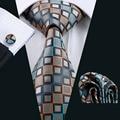 LS-1101 Barry. Wang Lazo de Los Hombres de Brown Novedad 100% Seda Gravata Corbata Hanky Gemelos Set Para Hombre Formal de La Boda partido Del Novio de Negocios