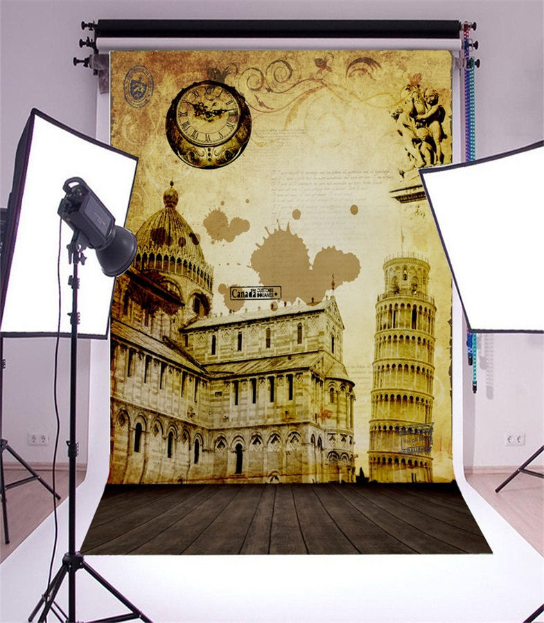 Laeacco Fade Postcard Leaning Tower Of Pisa Pattern Wood Floor ...