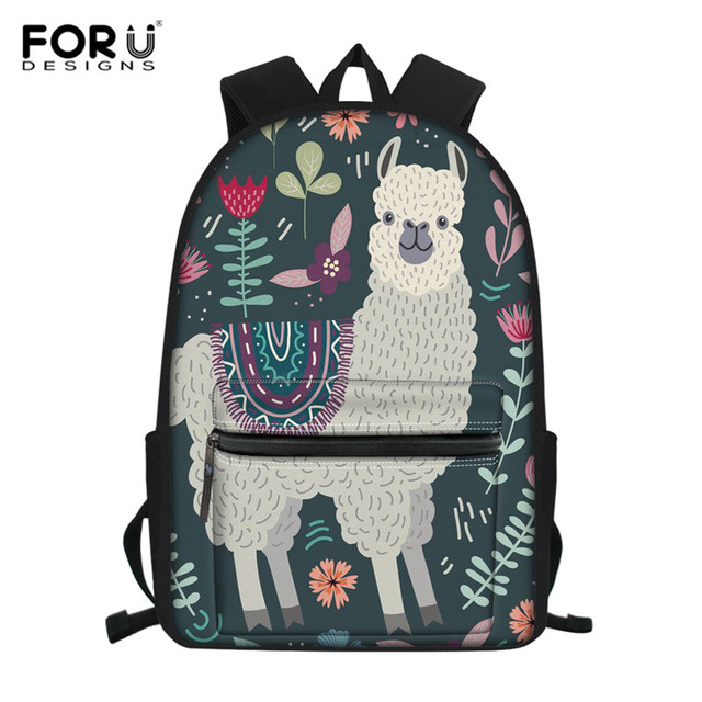 FORUDESIGNS Floral Llama Alpaca Printed School Bags for Kids Primary Schoolbags Girls Large Capacity Book Bags Satchel Mochila – Z4574Z58