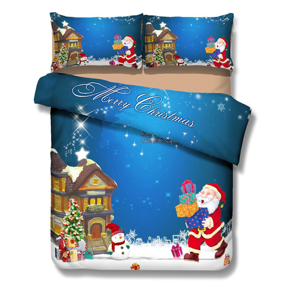 3D Merry Christmas Bedding 4pcs Beauty Coziness Quilt Cover set Comfortable Twin/Queen/King/Full/Double Size Bedclothes