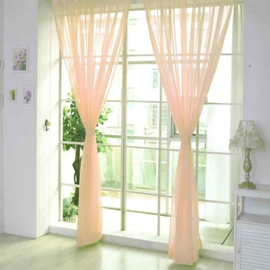 Window Curtain  1 PCS Pure Color Tulle Door Window Curtain Drape Panel Sheer Scarf Valances Window Curtain dropshipping 18may16