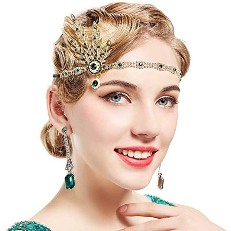 2019 New Women's Art Deco 1920's Flapper Great Gatsby Inspired Leaf Medallion Pearl Headpiece Headband Party Accessory