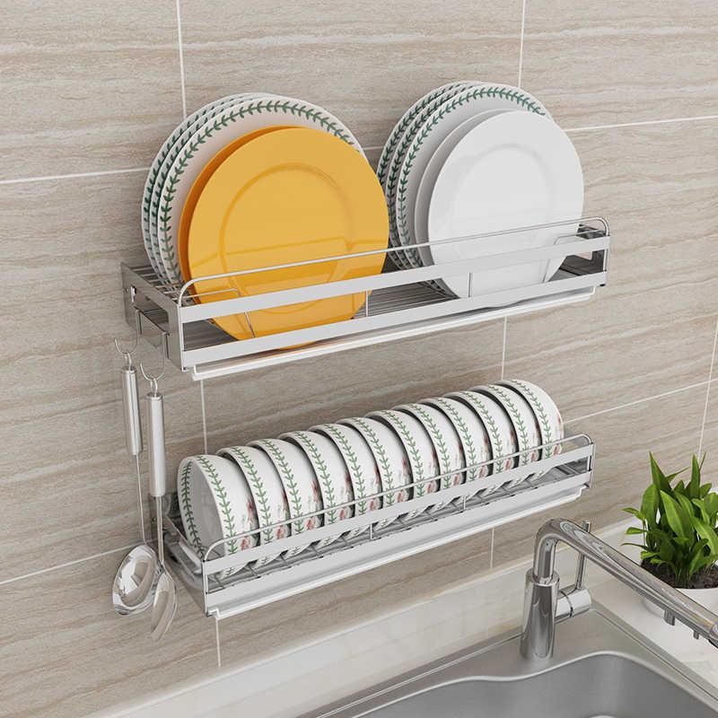Dish Rack Drain Rack Wall-mounted Punch-free Stainless Steel Hanging Dish  Rack Plate Storage Kitchen Rack
