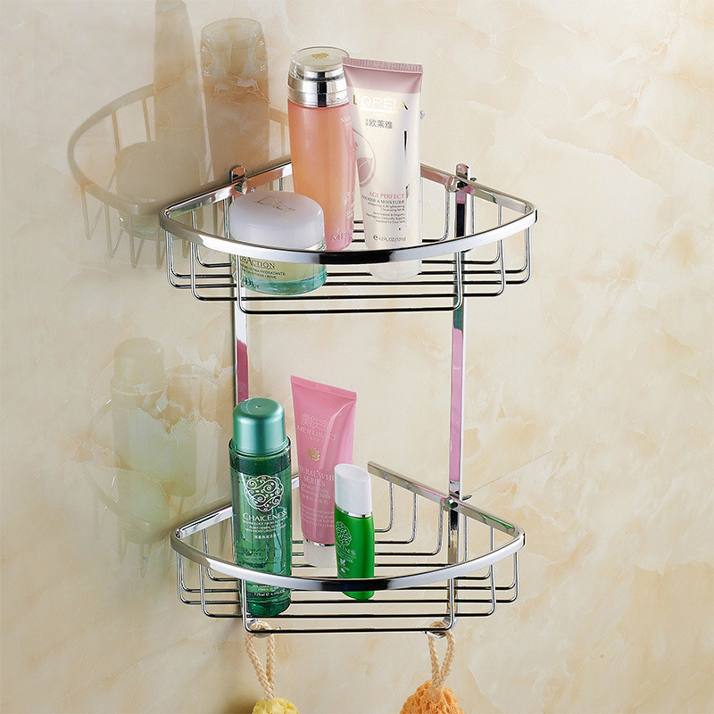 NEW Hot Sale bathroom vanity wall mounted shower basket stainless steel polish chrome finish double shelves w/ 2 hooks