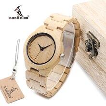 BOBO de AVES WL28 Naturaleza Cuarzo Relojes de Las Mujeres De Bambú de Bambú Simple Cara Del Dial Banda De Madera Wristwtach OEM relogio feminino