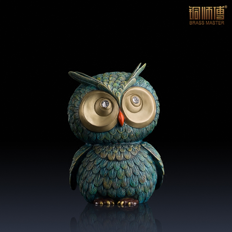 High quality lovely owl statue home decoration brass for Articles decoration