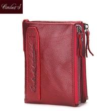 Мода 2017 г. Настоящая кожа Для женщин кошелек двойного сложения Бумажники ID Card Holder портмоне с двойной застежкой-молнией Малый Для женщин кошелек красный