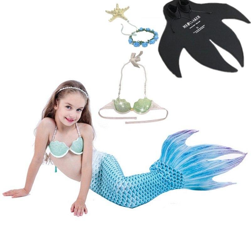 5 pz/set Bambini Mermaid Tail con Monofin Fin Costumi Delle Ragazze Scherza il Nuoto Mermaid Tail Bambini Sirena Costume Da Bagno Per La ragazza