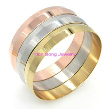 2015New Fashion Top Quality Gold Silver Rose Gold 316L Stainless Steel Bangle Jewelry Womens Bracelet Bangle