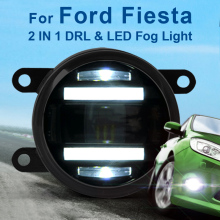 цена на For Ford Fiesta New Led Fog Light with DRL Daytime Running Lights with Lens Fog Lamps Car Styling Led Refit Original Fog