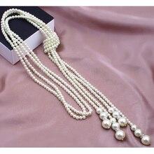 Perle Bijoux Délicat Noué Multi Simulé Perle Collier Perle Bijoux Femmes Mode Chaîne Accessoires Bijoux pour Fille