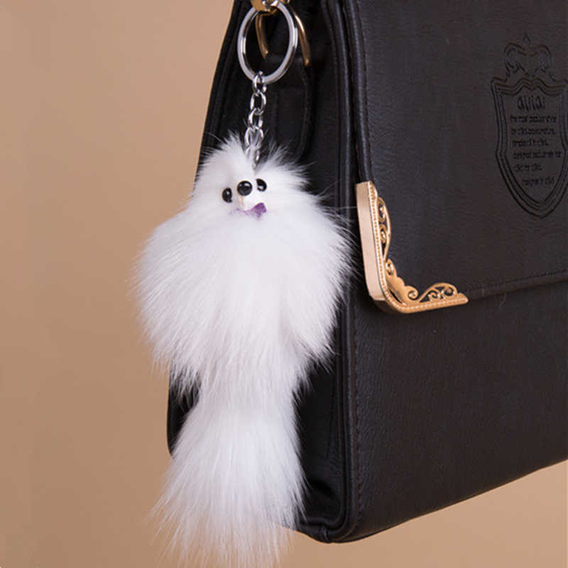 3702c0dedd Fashion Natural Fox Leather Fur Key Ring Woman Bag Charms Keychain Man Car  Keyring 16cm Pom