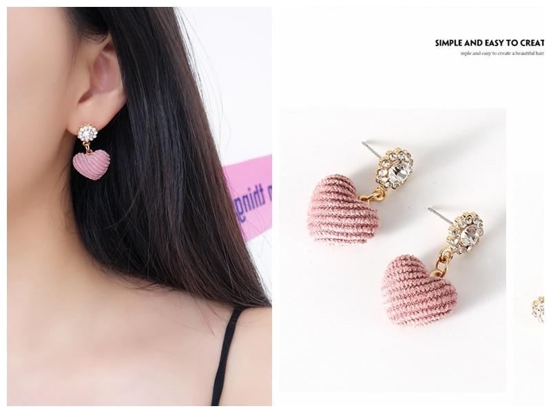 2019 New Korean Sweet Fashion Crystal Lovely Pink Love Ear Pendant Wholesale Tassel Earrings  Pearl