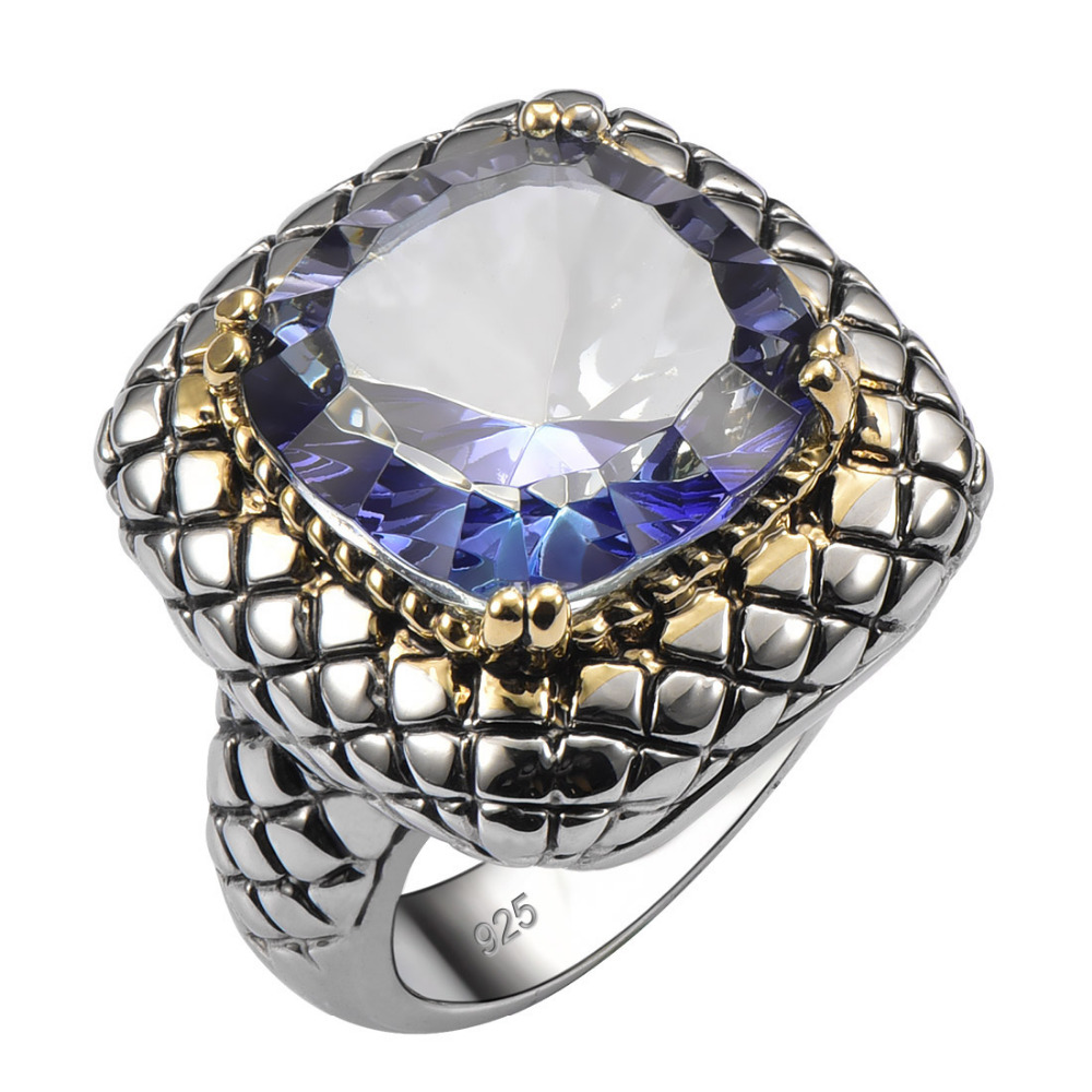 Exquisite Crystal Zircon 925 Sterling Silver Good Quality Ring Hot Gift For Men Size 6 7