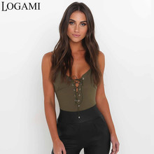 LOGAMI V Neck Backless Jumpsuit Bodysuit Overalls For Women Summer Body Sexy Femme Womens Ladies Playsuit Bodycon Clothing