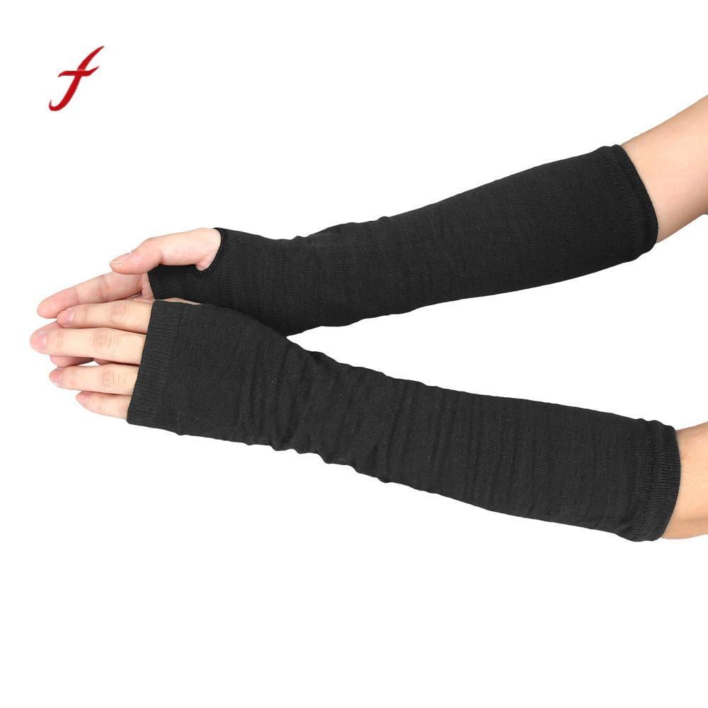 Armstulpen Dame Stretchy Striped Weiche Handgelenk Arm Warmer Lange Hülse Halb-finger Handschuhe Neue