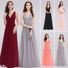 Бордовые Платья для подружки невесты для свадебной вечеринки, элегантные трапециевидные шифоновые длинные вечерние платья с v-образным вырезом для гостей, vestido de festa Longo