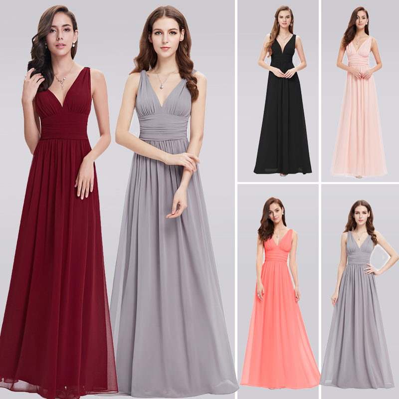 שמלות לנשף - Burgundy Prom Dresses EB26109 New Elegant Plus Size A-line V- neck Chiffon Long Wedding Guest Party Gowns 2018 0817f3067