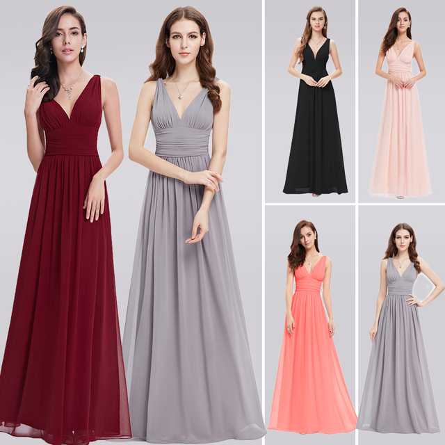 Burgundy Prom Dresses Long EB26109 New Elegant Plus Size A-line V-neck Chiffon Long Wedding Guest Party Gowns 2018