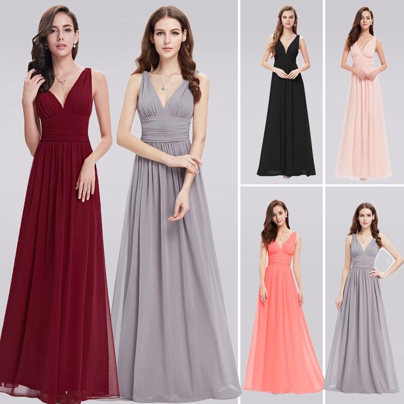 Burgundy Bridesmaid Dresses For Wedding Party Elegant A Line V Neck Chiffon Long Formal Guest Gowns Vestido De Festa Longo 2019