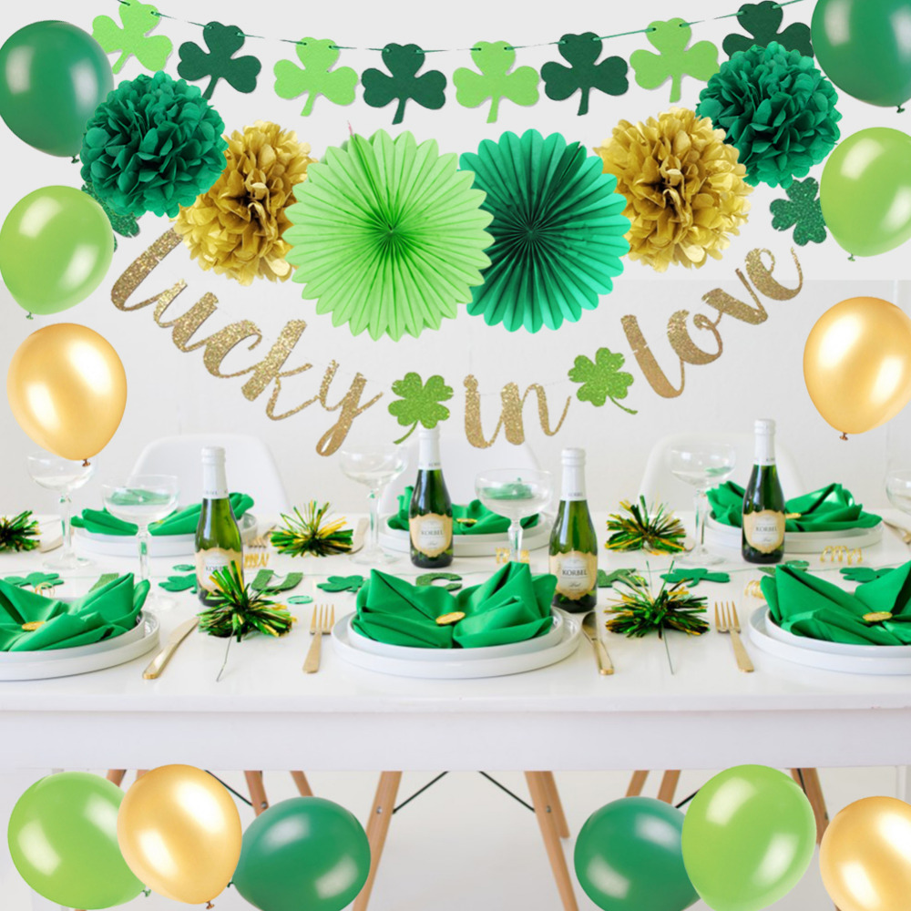 Us 9 85 28 Off Saint Patricks Day Party Decoration Kit Lucky In Love Banner Shamrock Garland Latex Balloons Irish Green Fans Kids Party Favor In