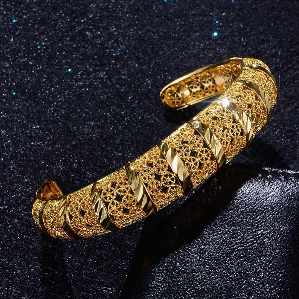 WANDO модные открытые 1 шт., украшения в виде эфиопских/Дубаи/африканских украшений, золотые браслеты и браслет, 24 K, ювелирные изделия для женщин, браслет fe, подарки для девочек
