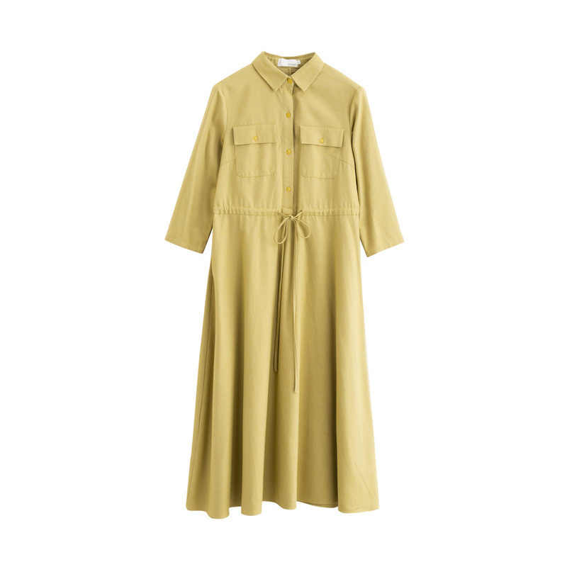 INMAN, осень 2019, Новое поступление, лиоцелл, хлопок, однотонный, отложной воротник, длинный рукав, минимализм, элегантное, подходит ко всему, женское платье-рубашка