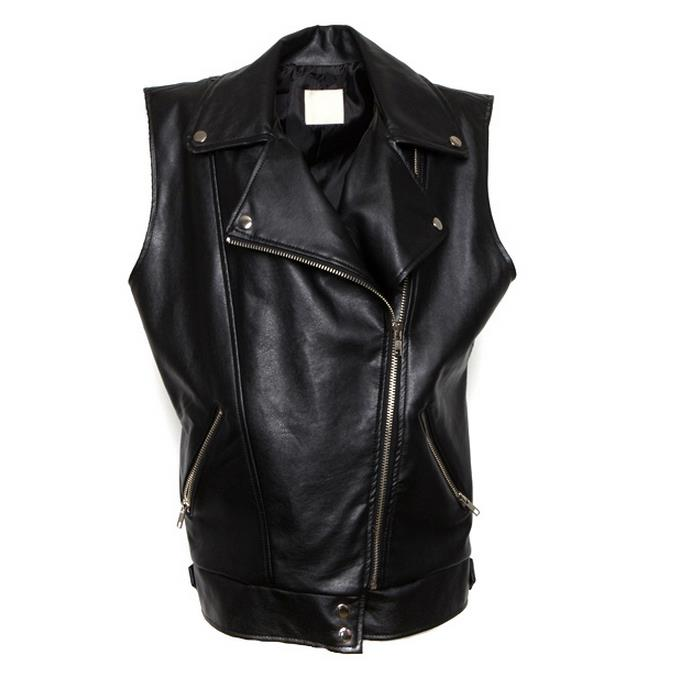 new Women Long Leather Vest PU Motorcycle Vest Pockets Outerwear loose bf Coat