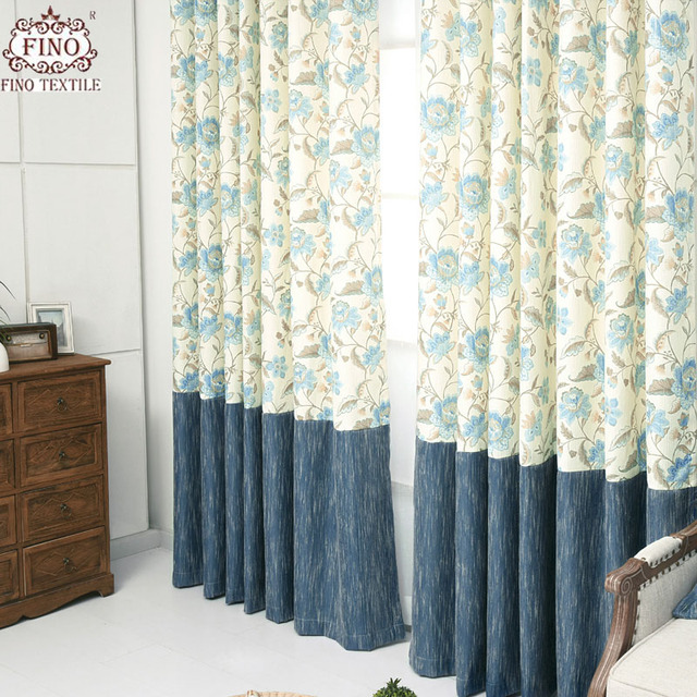 Blackout Curtains For Living Room Country Window Curtain Drapes For Bedroom  Blue Solid Fabric Panel Floral