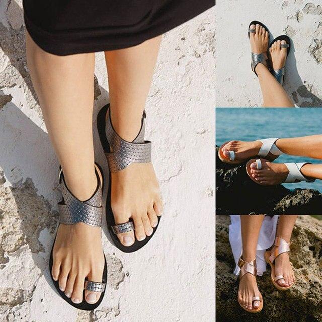 Сандалии-гладиаторы женская обувь 2018 Летняя мода на платформе простые Вьетнамки золотого, серебряного цвета пляжная женская обувь сандалии