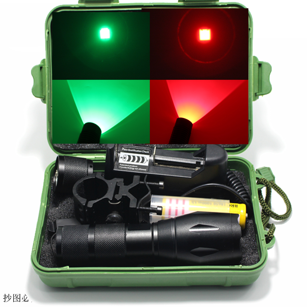 DZM E17 Hunting Zoom Green Red LED Flashlight Light 18650