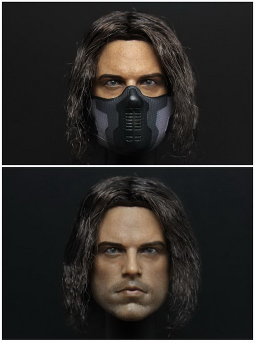 1/6th scale figure accesories Captain America Winter Soldier Bucky Barnes head sculpt with mask for 12 Action figure doll hottoys1 6th scale scarlett johansson black widow ver3 0 captain america the winter soldier 12 action figure doll model toy