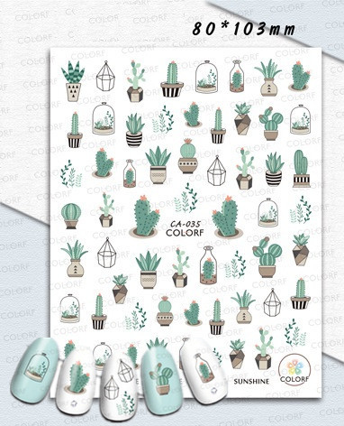 Newest Cactus 3D Nail Art decal Stickers