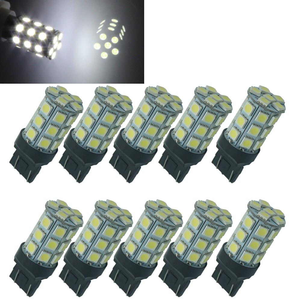 CQD-Light 10PCS Best Promotion T20 7443 7440 27 5050 SMD LED Pure White Car Brake Turn Signal Stop Rear Light Bulb Lamp DC12V
