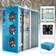 8GPU 6GPU Crypto Coin Open Air Mining Rig Frame Case /with 3 Fan 12038/25 Optional 12V 1.45A Computer Mining Case Server Chassis