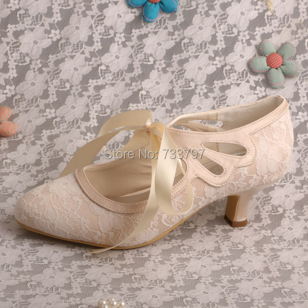 ФОТО Wedopus Light Champagne Lace-up Wedding Shoes Bride May Jane Low Heels